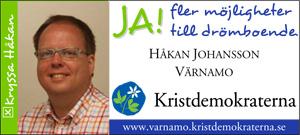 JA! fler möjligheter till drömboende. Håkan Johansson, Värnamo. Kristdemokraterna. www.varnamo.kristdemokraterna.se Kryssa Håkan