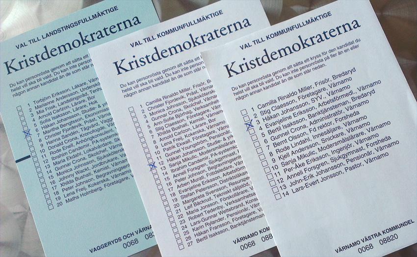 Mina valsedlar - färdigkryssade och klara. Välj gärna en eller båda du också... :) (Foto: Håkan Johansson)