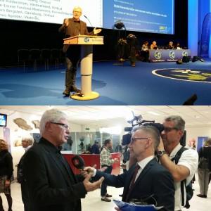 Anders Andersson håller ett brandtal för att riva upp DÖ och intervjuas efteråt av Ulf Kristofferson på TV4