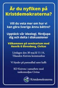Annons för KD Knivstas idéseminarium med Civitas