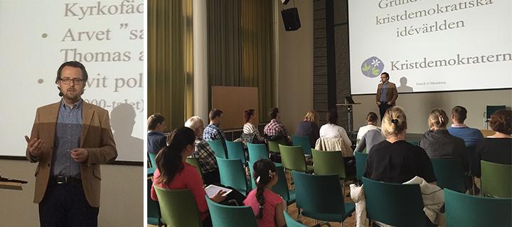 Henrik G Ehrenberg från Civitas talar om kristdmokratisk ideologi i Tilassalen, Knivsta kommunhus.