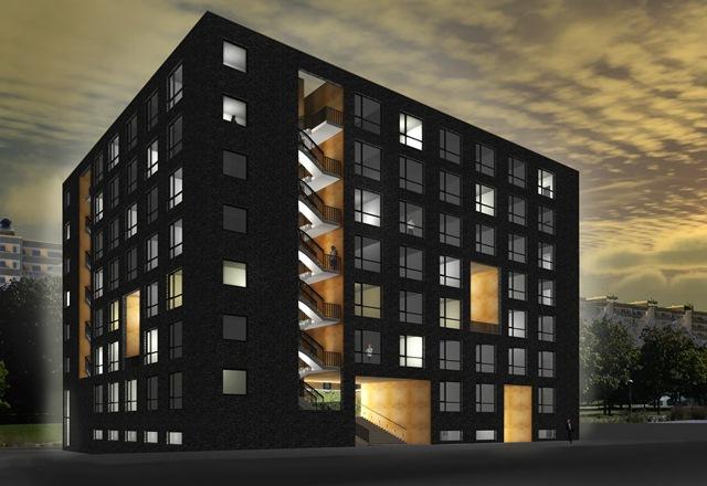 De planerade studentbostäderna i Malmparken. Foto: Berg & Toll