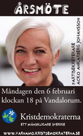 Årsmöte. Partisekreterare Acko Ankarberg Johansson. Måndagen den 6 februari klockan 18 på Vandalorum. Kristdemokraterna - ett mänskligare samhälle