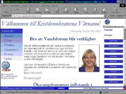 Andra versionen av Kristdemokraternas webbplats i Värnamo, 1999.