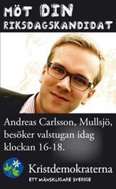 Möt din riksdagskandidat. Andreas Carlson, Mullsjö, besöker valstugan idag klockan 16-18.