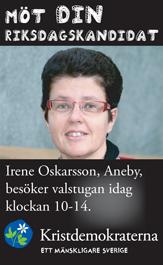 Möt din riksdagskandidat. Irene Oskarsson, Aneby, besöker valstugan idag klockan 10-14. Kristdemokraterna - ett mänskligare Sverige.
