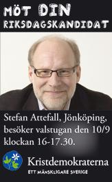 Möt din riksdagskandidat. Stefan Attefall, Jönköping, besöker valstugan den 10/9 klockan 16-17.30. Kristdemokraterna - ett mänskligare Sverige.