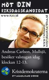 Möt din riksdagskandidat. Andreas Carlson, Mullsjö, besöker valsyugan idag klockan 12-13. Kristdemokraterna - ett mänskligare Sverige.