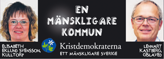Elisabeth Eklund Svensson, Kulltorp. En mänskligare kommun. Lennart Kastberg, Gislaved.