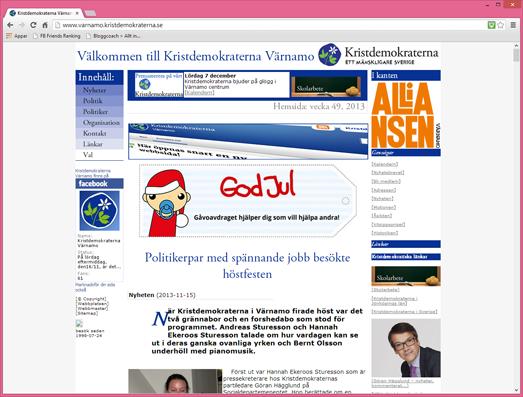 Sista versionen av Kristdemokraternas HTML-webb i Värnamo, 2013.