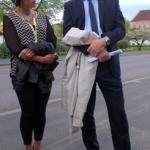 Camilla Rinaldo Miller, Kristdemokraterna Värnamo, lyssnar gärna när Lars Adaktusson lägger fram sin agenda för Bryssel. (Foto: Håkan Johansson)
