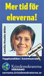 Mer tid för eleverna! Camilla Rinaldo Miller. Toppkandidat i kommunvalet. Familjens röst. Kristdemokraterna Värnamo. Familjens röst. varnamo.kristdemokraterna.se