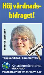 Höj vårdnadsbidraget! Monica Johnsson. Toppkandidat i kommunvalet. Kristdemokraterna Värnamo. Familjens röst. varnamo.kristdemokraterna.se