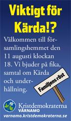 Viktigt för Kärda!? Välkommen till församlingshemmet den 11 augusti klockan 18. Vi bjuder på fika, samtal om Kärda och underhållning. Kristdemokraterna Värnamo. Familjens röst. varnamo.kristdemokraterna.se