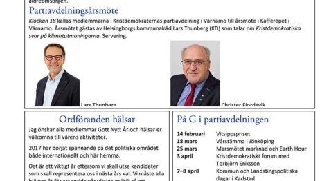 Medlemstidningen Vitsippan, februari 2017.