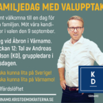 FAMILJEDAG MED VALUPPTAKT. Varmt välkomna till en dag för hela familjen. Möt våra kandidater i valen den 9 september. I dag vid Åbron i Värnamo. Klockan 12: Tal av Andreas Carlson (KD), gruppledare i Riksdagen. Du ska kunna lita på Sverige! Du ska kunna lita på Värnamo! #välfärdslöftet VARNAMO.KRISTDEMOKRATERNA.SE