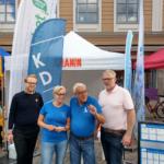 I Allianstältet kunde man alltid hitta någon från varje alliansparti. Här är Tobias Pettersson (M), Camilla Rinaldo Miller (KD), Runar Eldebo (L) och Torbjörn Egerhag (C). (Foto: Håkan Johansson)