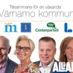 Tillsammans för en växande Värnamo kommun. M, KD, C, L. Alliansen