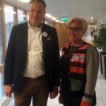 Camilla Rinaldo Miller (KD), som är på god väg att bli Värnamos första kvinnliga kommunfullmäktigeordflrande, tillsammans med Mikael Karlsson (C) som är föreslagen som 1 vice ordförande i Värnamo Kommunfullmäktige. (Foto: Gunnar Crona)