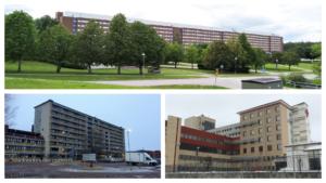 Collage av bilder på länets tre sjukhus där vi vill se en central sängtvätt.